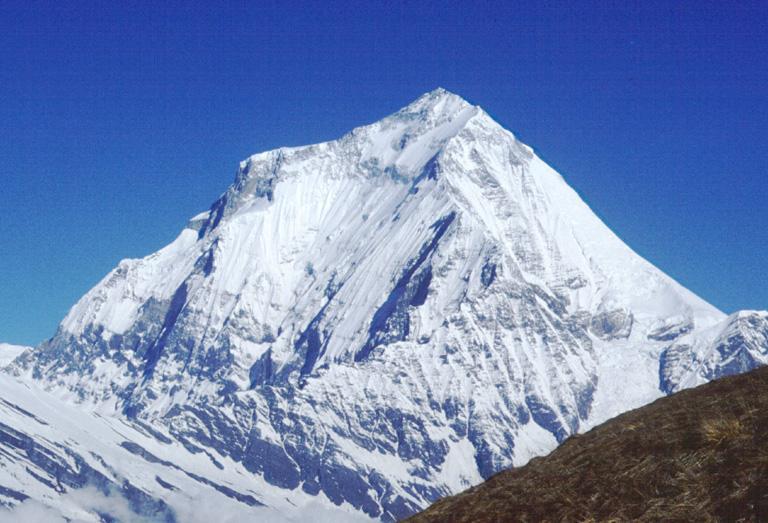 white mountain trekking in Nepal