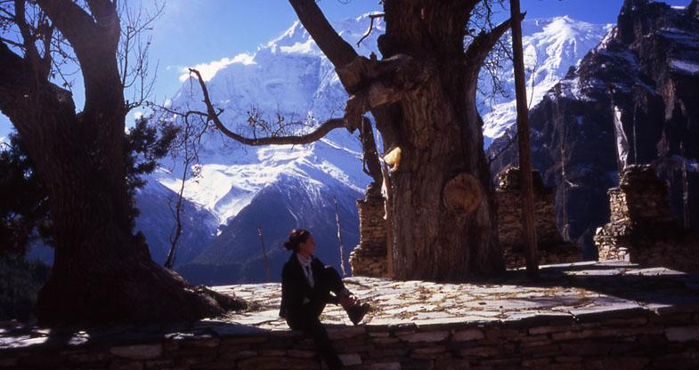 Tourist relaxing on chautara