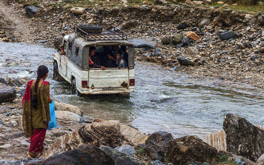 Driving in the river.