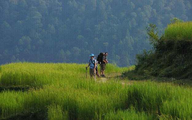 Taking a breather in a long trek.