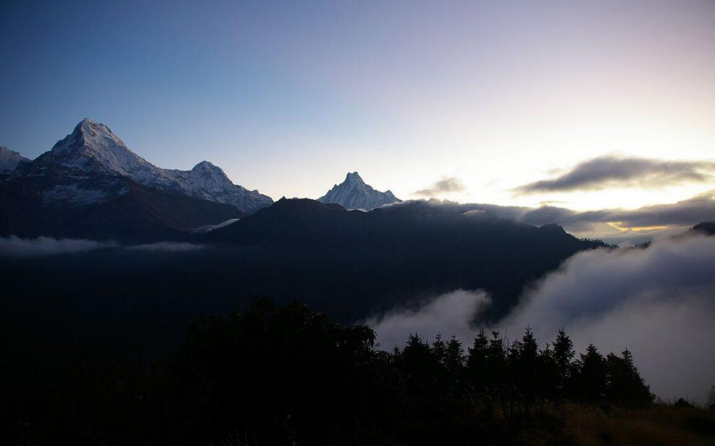 Manaslu Trek Trail at dawn