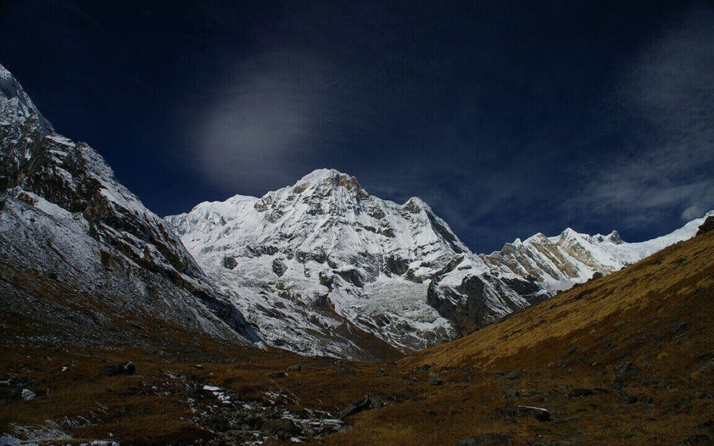 In the middle of the Manaslu Trek Trail