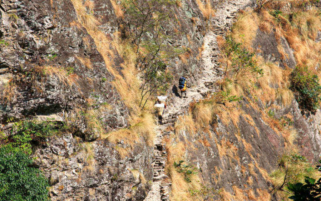 A very steep and dangerous climb.