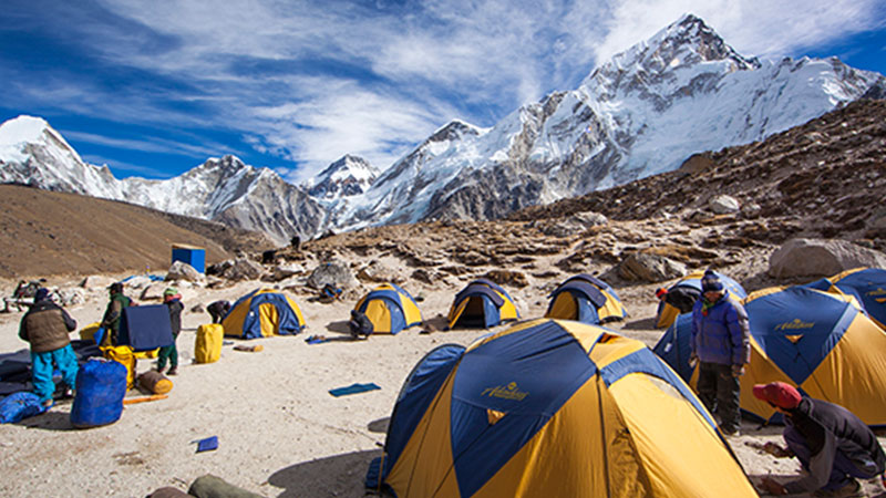 Crowds at Everest Base Camp during October