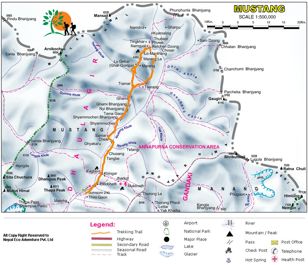 14 days Upper Mustang Trek Map